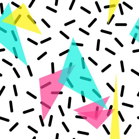 Ilustración de Vector Illustration of Seamless pattern in memphis style Design, Website, Background, Banner.  Retro abstract geometric Element Template. 80s 90s style - Imagen libre de derechos