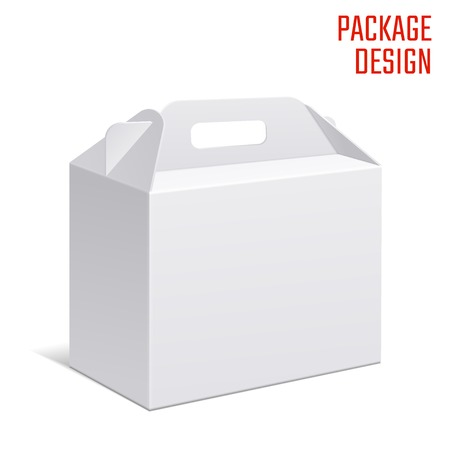 Ilustración de Vector Illustration of Clear Gift Carton Box for Design, Website, Background, Banner. White Habdle Package Template isolated on white. Retail pack with for your brand on it - Imagen libre de derechos