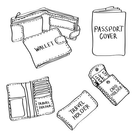 Ilustración de Set of hand drawn leather accessories doodles isolated on a white background. Vector illustrations of wallet, passport cover, travel holder, card holder. - Imagen libre de derechos