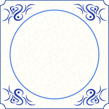 Ilustración de Original design of a traditional delft blue tile with abstract illustration in shades of blue, cream and grey grunge background and room for text, image or photo, vector, eps 10 - Imagen libre de derechos