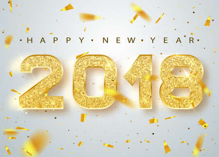 Illustration pour 2018 Happy new year. Gold Numbers Design of greeting card of Falling Shiny Confetti. Gold Shining Pattern. Happy New Year Banner with 2018 Numbers on Bright Background. Vector illustration. - image libre de droit