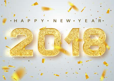 Ilustración de 2018 Happy new year. Gold Numbers Design of greeting card of Falling Shiny Confetti. Gold Shining Pattern. Happy New Year Banner with 2018 Numbers on Bright Background. Vector illustration. - Imagen libre de derechos