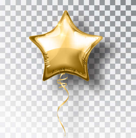 Illustration pour Star gold balloon on transparent background. Party helium balloons event design decoration. Balloons isolated air. Mockup for balloon print. Stocking Christmas decorations. Vector isolated object. - image libre de droit