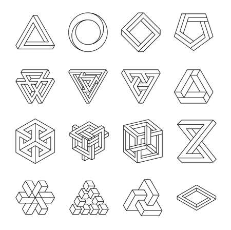 Illustration for Set of impossible shapes. Optical Illusion. Vector Illustration isolated on white. Sacred geometry. Black lines on a white background - Royalty Free Image