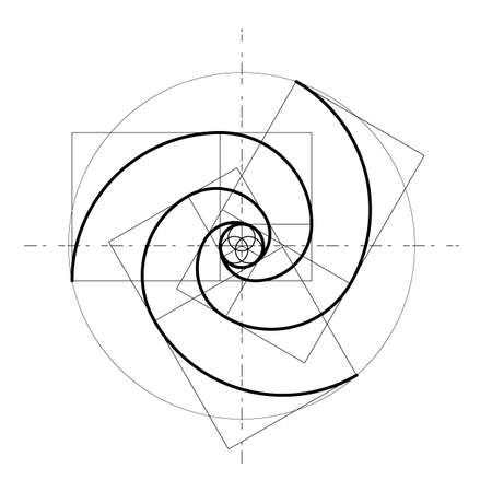 Illustration pour Minimalistic style design. Golden ratio. Geometric shapes. Circles in golden proportion. Futuristic design. Logo. Vector icon. Abstract vector background - image libre de droit