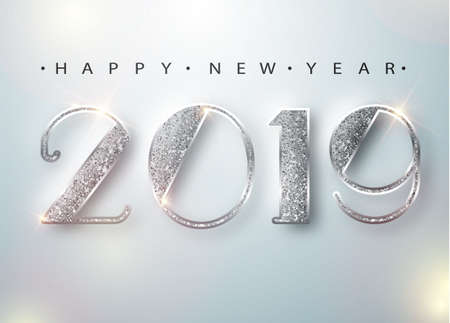 Ilustración de Happy New Year 2019 Greeting Card with Silver Numbers on White Background. Vector Illustration. Merry Christmas Flyer or Poster Design. Vector 10 EPS - Imagen libre de derechos