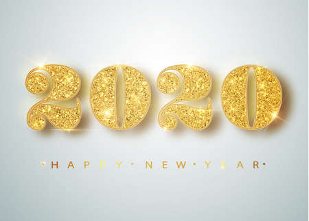 Illustration pour Happy New 2020 Year. Holiday vector illustration of golden metallic numbers 2020. Realistic sign. Festive poster or banner design - image libre de droit
