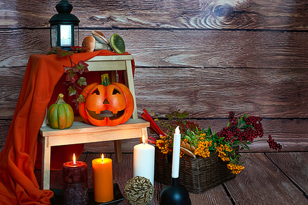 Photo for Halloween pumpkin, candles and mushrooms on wood background - Royalty Free Image