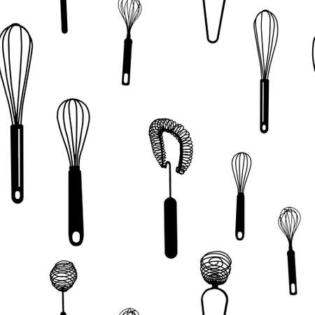 Illustration pour Seamless pattern with black hand drawn whisk kitchen utensil. Egg beater graphic emblem on a white background. Culinary symbol. Vector illustration - image libre de droit