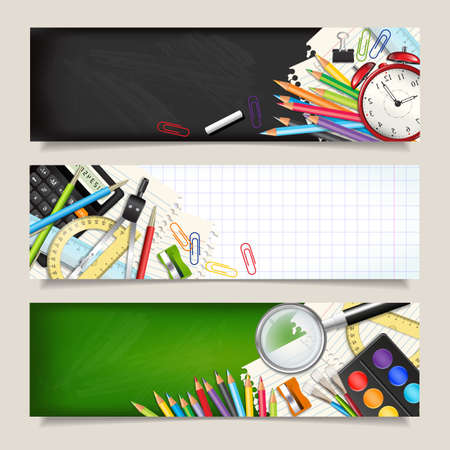 Photo pour Vector set of three back to school horizontal banners. Templates with supplies tools. Place for your text. Place for your text. Layered realistic vector illustration. - image libre de droit