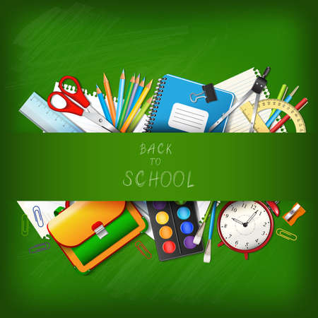 Photo pour Back to school background with supplies tools on board. Place for your text. Layered realistic vector illustration. - image libre de droit