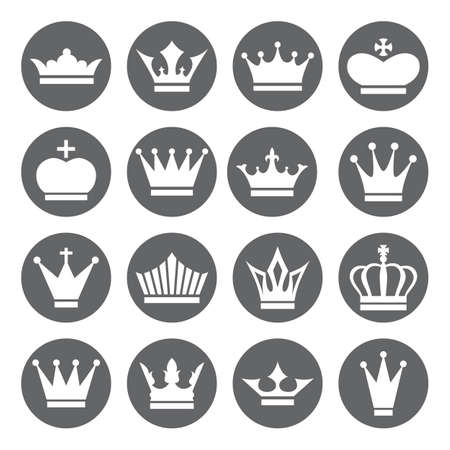 Illustration for Set of vector Crown Icons in flat style, white on grey basis - Royalty Free Image