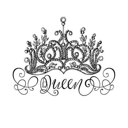Illustration for Elegant hand-drawn Queen crown with lettering. Graphic black-and-white illustration. Perfect for thematic banners, announcement, web design. - Royalty Free Image
