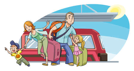 Photo pour Young family with two kids going on vacation by train - image libre de droit