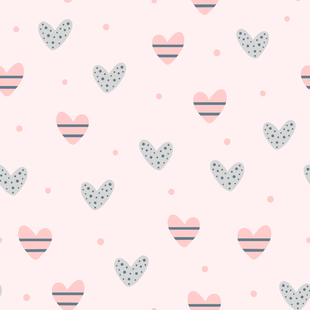 Illustration for Repeating cute hearts and round dots. Romantic seamless pattern. Endless lovely print. Vector illustration. - Royalty Free Image