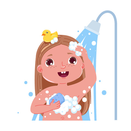 Ilustración de Little child girl character take a shower. Daily routine. Isolated without background. Vector cartoon illustration - Imagen libre de derechos