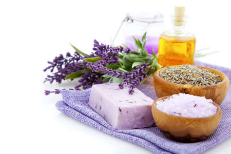 Photo pour lavender soap, bath salt and candle isolated on white background - image libre de droit