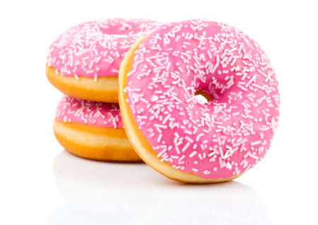 Photo for Pink Donut Isolated On White Background - Royalty Free Image