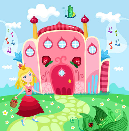 Strawberry Princess castle mural
