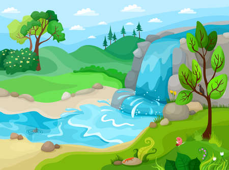 Illustration pour Waterfall - image libre de droit