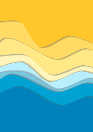 Illustration for Yellow and blue curve wave line background, sea and beach in paper cut style. Cropped with Clipping Mask - Royalty Free Image