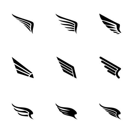 Illustration for wing icon set on white background - Royalty Free Image