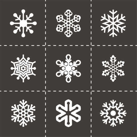 Illustration for Vector Snowflake icon set on black background - Royalty Free Image