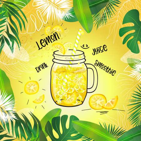 Ilustración de vector lemon drink in mason jar decorated with tropical leaves frame and bright background - Imagen libre de derechos
