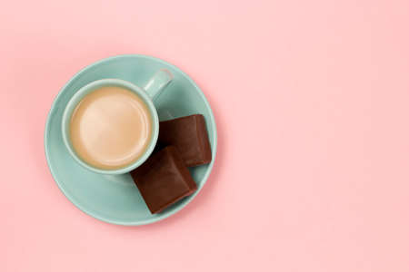 Photo for View of Cup of Coffee on a Pink Background - Royalty Free Image