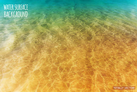 Illustration pour The illustration of water surface with sun reflections- totally vector colorful  image. Ideal lake, sea and ocean texture. - image libre de droit