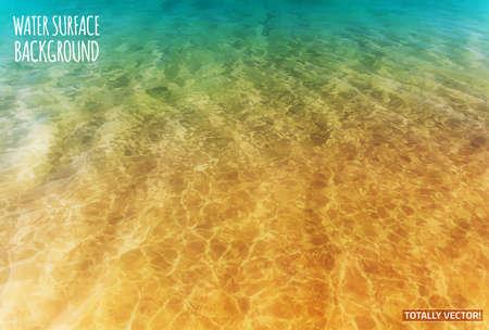 Ilustración de The illustration of water surface with sun reflections- totally vector colorful  image. Ideal lake, sea and ocean texture. - Imagen libre de derechos