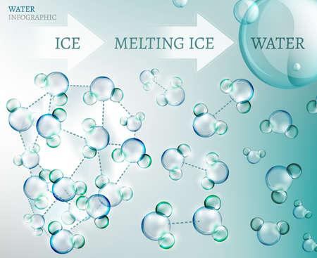 Illustration pour The illustration of bio infographics with water molecule in transparent style - image libre de droit