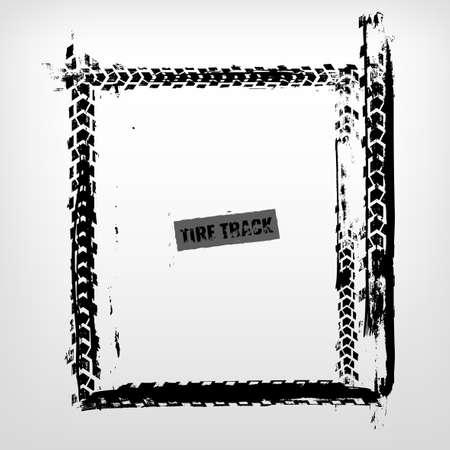 Ilustración de Grunge tire track frame in square shape. Beautiful vector illustration in dark grey colour isolated on a white background.  - Imagen libre de derechos