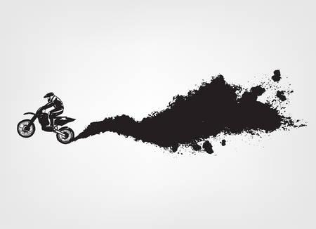 Ilustración de Vector automotive element template. Grunge tire tracks background for landscape poster, digital banner, flyer, booklet, brochure and web design. Editable graphic image in grey and white colors - Imagen libre de derechos