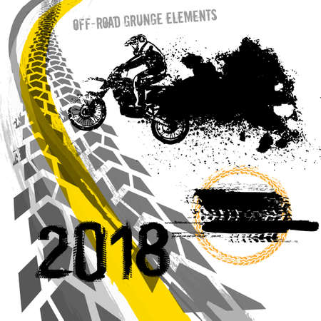 Illustration pour Off-road motorcycle elements useful for rally, race poster, placard, print, leaflet design. - image libre de droit