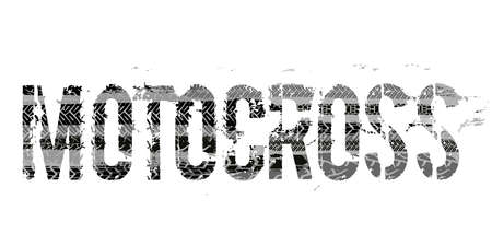 Illustration pour Off-Road grunge moto lettering. Stamp tire word made from unique letters.  Vector illustration useful for poster, print and leaflet design. Editable graphic element in grey colours. - image libre de droit