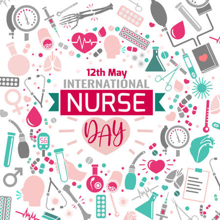 Illustration pour International nurse day image. Vector illustration in pink, green and grey colors isolated on a white background. Medical and healthcare concept. - image libre de droit