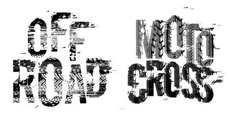 Illustration pour Off-Road grunge moto lettering. Stamp tire word made from unique letters. - image libre de droit