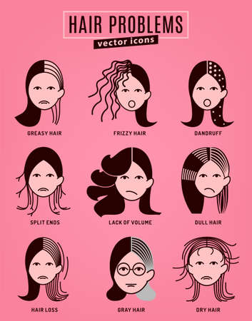 Illustrazione per Hair problems collection. Vector illustration in modern style isolated on a pink background. Beauty, dermatology and health care concept in monochrome colors. - Immagini Royalty Free