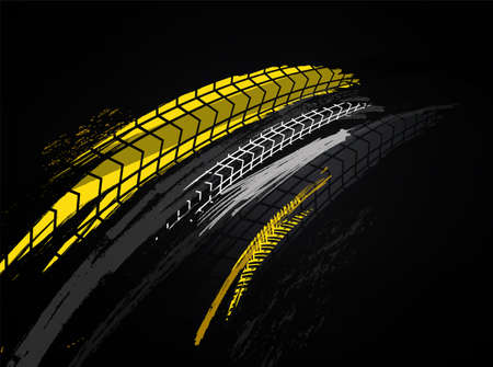 Illustration pour Vector automotive banner template. Grunge tire tracks background for landscape poster, digital banner, flyer, booklet, brochure and web design. Editable graphic image in black and yellow colors - image libre de droit