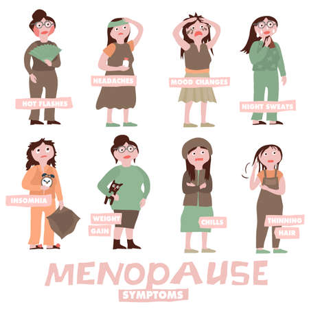 Illustration pour Menopause symptoms and physical changes. Vector illustration with woman characters on a white background. Scientific, educational and popular-scientific concept. Women health icons set. - image libre de droit