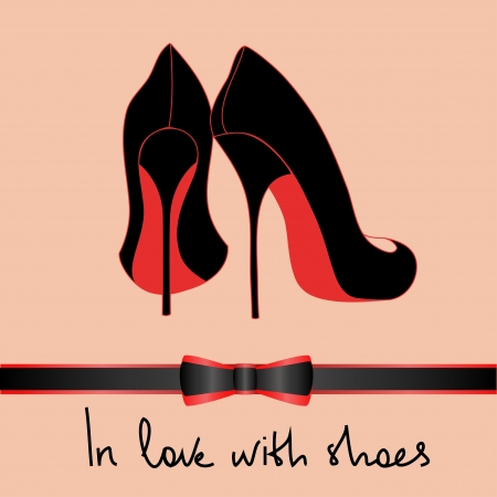 Background of elegance black pair of shoes with text in love with shoes