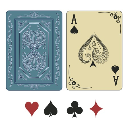 Foto de Vintage ace of spades playing card with pattern back - Imagen libre de derechos