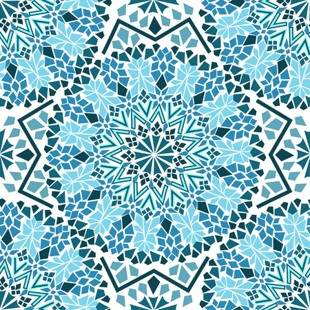 Illustration for Seamless pattern of turquoise Moroccan mosaic - Royalty Free Image