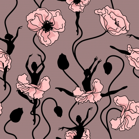 Illustration pour Seamless pattern of stylized dance of flowers and ballerinas - image libre de droit