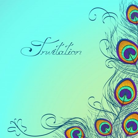 Illustration pour Card or invitation with iridescent peacock feathers decoration on blue background - image libre de droit
