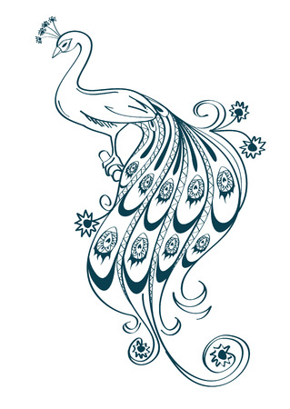Illustration pour Illustration with isolated outline stylized ornamental peacock on white background - image libre de droit
