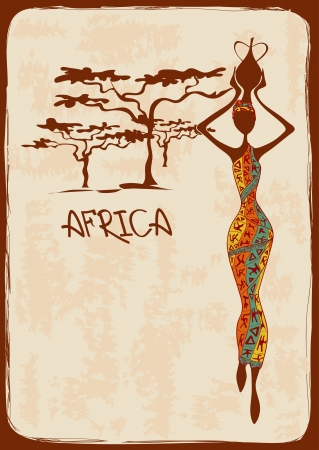 Illustration pour Vintage illustration with beautiful slim African woman in colorful ethnic patterned dress - image libre de droit
