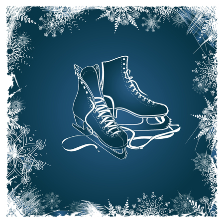 Illustration for Winter illustration with figure skates framed by snowflakes - Royalty Free Image