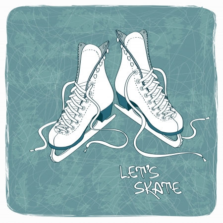 Illustration for Illustration with figure skates on a vintage ice rink background - Royalty Free Image